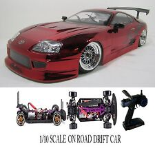1/10 Scale  TOYOTA SUPRA- RTR Custom RC Drift -Cars  2.4Ghz & Charger red