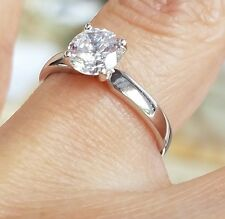 Solid 14k White Gold 1 ct Round Cut Solitaire Man Made Diamond Engagement Ring