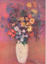 """1954 Tipped In Art Print """"Vase With Flowers"""" By Odilon Redon French Free Ship"""