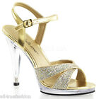 FABULICIOUS FLAIR-419(G) Gold Glitter Mini-Platform Ankle Strap Heels US 5-16