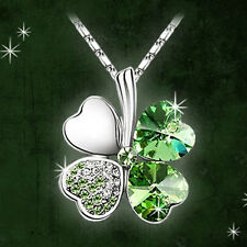 Silver Women Happiness Clover Leaf Crystal Pendant Chain Necklace Valentine Gift