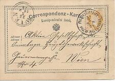 2 Kreuzer gelb 1874  ( Überklebter Fehldruck !! )  Prag Kleinseite nach Wien