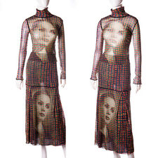 Jean Paul Gaultier Vintage Sheer Plaid Tartan Face Print Top and Skirt Set