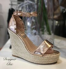 Studded Wedge Espradille NEW Open Toe Rose Gold Size 6 39