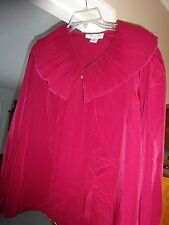 CASUAL CORNER & CO Ladies Maroon Size 12 Ladies Blouse Big Collar Polyester