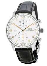 New IWC Portugieser Automatic Chronograph Silver Gold Dial Men's Watch IW371445