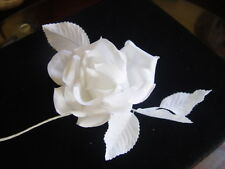 LARGE WHITE MILLINERY ROSE WITH LEAVES ON WIRED STEM