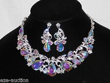 Wedding Silver W. Clear, AB IRIDESCENT Rhinestone Necklace Teardrop Earrings Set