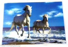 3 D POSTER FEATURING TWO WHITE HORSES IN SURF
