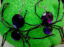 UNIQUE BIG Purple SPIDER Beaded Legs COSTUME 925 EARRINGS HALLOWEEN nora winn