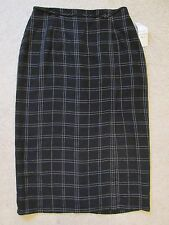 New Women's Michele Black & White Plaid Full Length Dressy Skirt Size 16