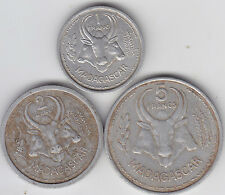 French Madagascar - 1 , 2 , 5  Francs Coin Set - Aluminium