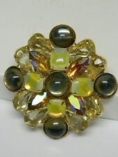 VINTAGE JULIANA OPEN BACK GIVRE YELLOW & CHAMPAGNE RHINESTONE PIN / BROOCH