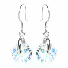 Swarovski Elements Crystal Briolette Bead Rondelle Dangle STR Silver Earring