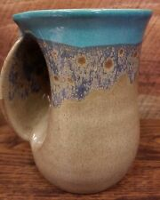 Hand Warmer Mug - Made in USA - Left Handed - Blue and Tan - Cozy Handwarmer