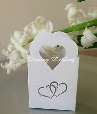 100 White Wedding Favour Favor Sweet Candy Cake Gift Boxes Bags Silver Hearts