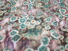 "Green ""Mallow"" Flower, Floral Powder Touch Printed Peachskin Dress Fabric."