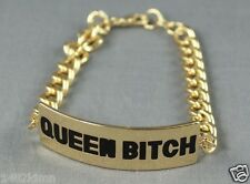 "Gold Tone QUEEN BITCH ID Plate Bracelet Black Wording no stone 7.5"" DF2"