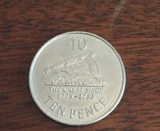 2013 GIBRALTAR 10P TEN PENCE THE GREAT SIEGE CIRCULATED