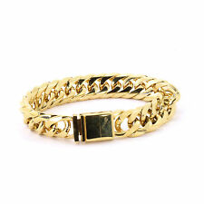 SOLID 14K YELLOW GOLD FINISH THICK MIAMI CUBAN TIGHT LINK BRACELET 16MM JayZ