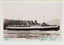 RPPC,S.S.Princess Kathleen,3 Stack Ocean Liner,Canadian-Pacific Co.Used,1938