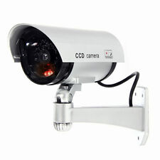 Outdoor Silver Dummy Fake CCTV IR Wireless Security System Flash Red Led Camera
