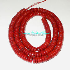 "Coral Natural Sea Sardegna Dark Red Heishi Wheel Beads 5 MM 16"" (1 Strand )"