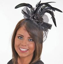 Black Flower Feather Veil Headband Adult Costume Accessory Saloon Girl