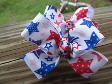 Hair Bows a pair of Med Patriotic Stars Red white and blue Hair Bows