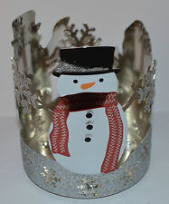 BATH BODY WORKS SPARKLY SNOMEN SNOWMAN LARGE 3 WICK CANDLE HOLDER SLEEVE 14.5 OZ