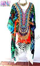 KAFTANS EMBELLISHED new design pointed hem sidesplit 10/18 silk blend tropical