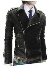US Seller Mens Cool Style Zip-Front Faux-Leather Jacket Coat PK41