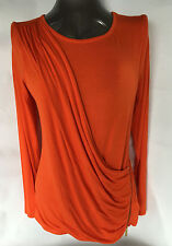 MICHAEL KORS Womens Ruched Zippered Detail BLOUSE Long Sleeve Size XL NWT $89.50