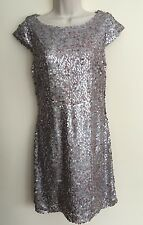 Parker Pink Silver Sequined Sheath Dress Knee Length M Women's EUC Formal
