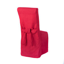 1 x Red Linen Fabric Dining Chair Covers for Scroll Top High Back Leather