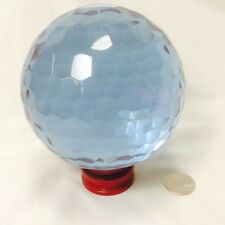 "Crystal Glass Ball Faceted Clear purple Blue 110mm (4.2"") + wood stand #LC26-110"