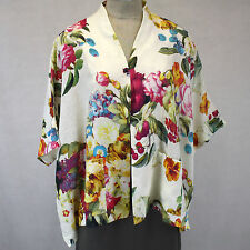 NEW NWT Alembika Plus Size 100% Linen Flowers Open Jacket Blouse XL (fits 1X 2X)