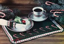 CHRISTMAS Candy Cane Place Mat Set/Decor/Crochet Pattern INSTRUCTIONS ONLY