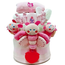 Nappy Cake New Born Baby Girl Deluxe Flutterbug Gift