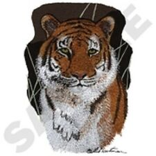 TIGER PORTRAIT SET OF 2 BATH HAND TOWELS EMBROIDERED BY LAURA
