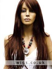 100% Echthaar Damen Lang Dunkelbraun Perücke Business Perücken Human Hair Wig 13