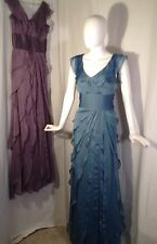 Adrianna Papell Tiered Ruffled Chiffon Purple Bridesmaid Titanic Gown Dress Sz 4