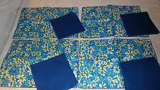 Retro 4  PLACEMAT & NAPKIN SET Shades of Blue Daisies, Lime Green Centers,Navy