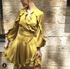 Was $595 Brand New Zimmermann Winsome Flutter Robe Dress In Curtis 3 yellow silk
