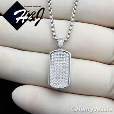 "MEN 925 STERLING SILVER ICED OUT DOGTAG PENDANT+24""X1.5MM BOX LINK NECKLACE*SP56"