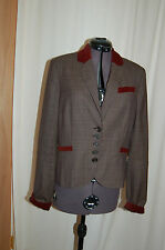 NWT Juicy Couture Wool Plaid with velvet purple collar Jacket Blazer Size10 $320