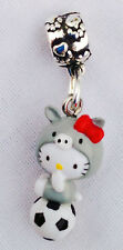 Cutest hello kitty 3DFull Body Dangle Charm fits European Bracelet Soccer Fan