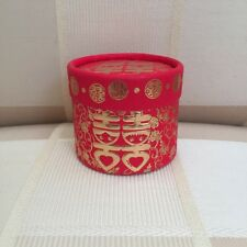 Double Happiness Asian Red Gold Wedding Favor Boxes Round Cylinder 150 Pieces