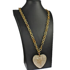 Natural real buffalo horn large oversized heart pendant link long necklace