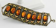 Early 1900's ART DECO Era CZECH Enamel & Rhinestone Filigree BRACELET EXTRA WIDE